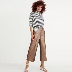 MADEWELL Emmett Wide-Leg Crop Pants Metallic Sand